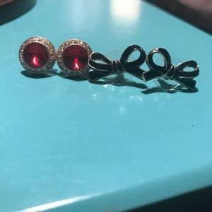 Set of stud earrings red jewels black bows new